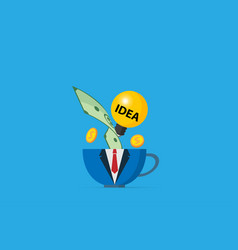 Coffee cup in business uniform with light bulb vector