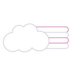 color line cloud with nature rainbow design in the vector image