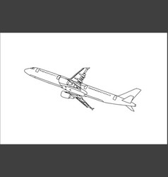 commercial plane outline flying in the sky vector image