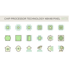 computer chip processor and technology icon set vector image