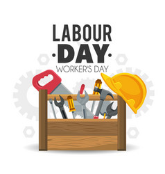 Construction box tools to labour day vector