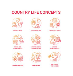 Country life red concept icons set vector