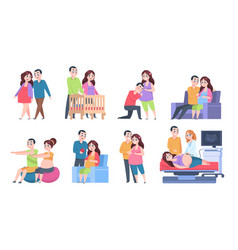 couple pregnancy characters woman and newborn vector image