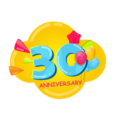 cute cartoon template 30 years anniversary vector image