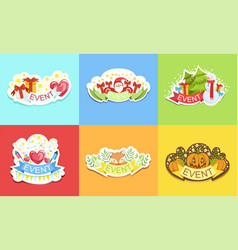 cute holiday stickers set prints for cards vector image