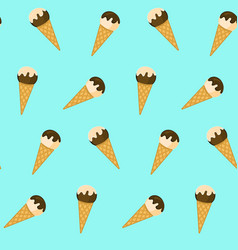 Cute pattern with ice cream in waffle cones vector