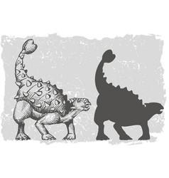 Dinosaur ankylosaurus grafic hand drawn vector