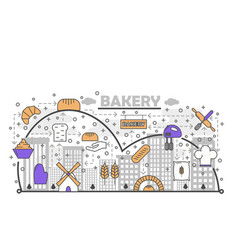 dynamic bread baking process with line art flat vector image