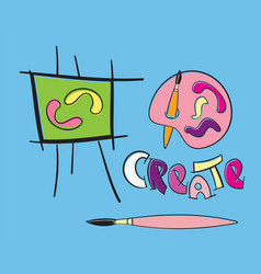 easel paintbrush paletter artistic create text vector image