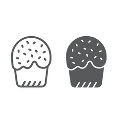 easter cake line and glyph icon easter and food vector image