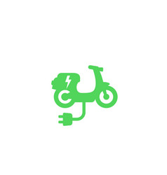 Electric scooter icon on white green transport vector