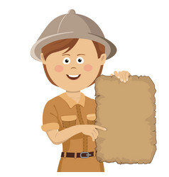 explorer woman in safari hat holding scroll map vector image