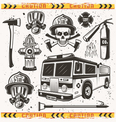 Firefighters equipment set of objects vector