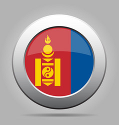 Flag of mongolia metal gray round button vector