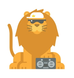 Flat design cool lion vector