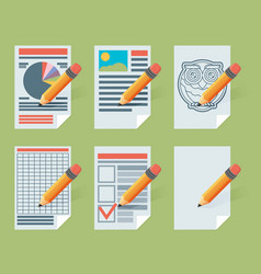 Flat document icons vector