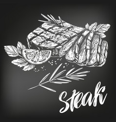 food meat steak roast set calligraphic text vector image