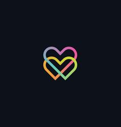 Gradient monoline two hearts icon symbol isolated vector