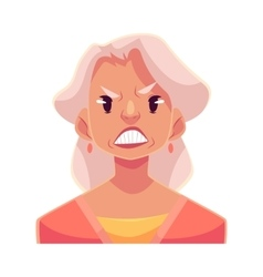 Grey haired old lady angry facial expression vector image