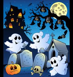 halloween scenery with cemetery 6 vector image