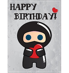Happy birthday card with cute cartoon ninja vector image