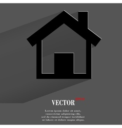 house Flat modern web button with long shadow and vector image