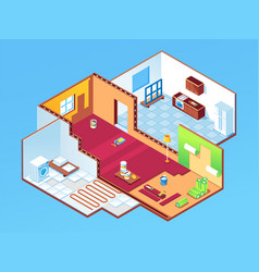 isometric apartment or room during house repair vector image