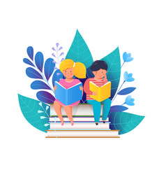 Little kids reading books flat vector