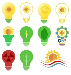 logo and icons set energy and sun power vector image