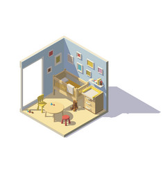 low poly baby room vector image
