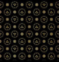 luxe gold black polka dot daisy pattern seamless vector image