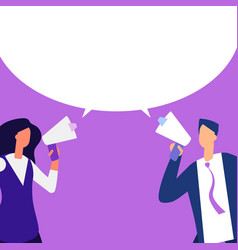 Man and woman with megaphone making message vector