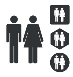 Man woman icon set monochrome vector image