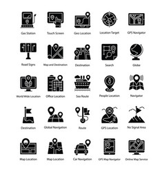 maps and navigations glyph icons set vector image