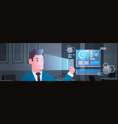 modern security system scanning business man face vector image