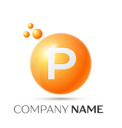 p letter splash orange dots and circle bubble vector image