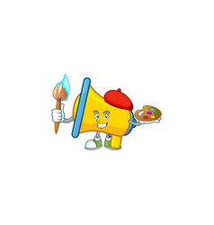 Painter yellow loudspeaker cartoon character for vector