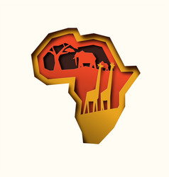 papercut africa continent map with animals vector image