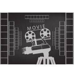 professional camera on a tripod and film vector image