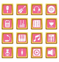 recording studio symbols icons set pink square vector image
