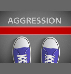 Red line and the word aggression vector