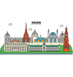 Russia kazan city skyline architecture vector