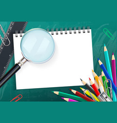 School background with colorful pencils and vector