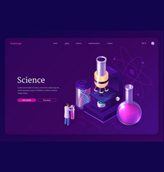 science isometric landing page scientist in lab vector image