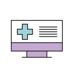 screen computer cross medical online support vector image