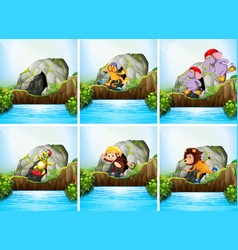 Set animal in nature vector