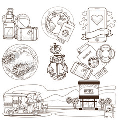 Set of outline on the theme of summer beach vector