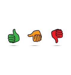 set of three thumbs up down vector image