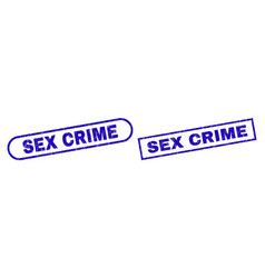 Sex crime blue rectangle stamp with unclean style vector