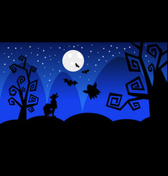 silhouette wolf earn on moon scary shadows happy vector image
